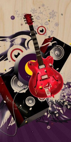 'Music for the Masses' Electric Guitar Speakers & Woofers w/ Swirl Artwork - Plywood Wood Print Poster Wall Art
