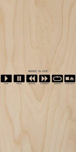 'Music Is Life' Play, Pause, Rewind, Forward, Repeat, Stop/Eject - Plywood Wood Print Poster Wall Art