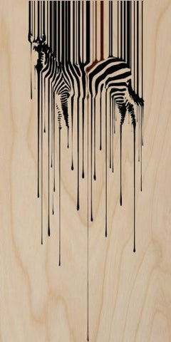 Zebra Illustration Black Dripping Paint Design - Plywood Wood Print Poster Wall Art