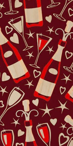 Wine Glasses & Bottles w/ Stars & Hearts - Plywood Wood Print Poster Wall Art