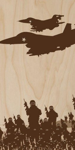 War Fighter Jets w/ Army Foot Soldiers Battle Illustration - Plywood Wood Print Poster Wall Art