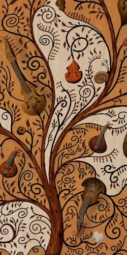 Violin Tree Swirl Art Musical Instruments - Plywood Wood Print Poster Wall Art