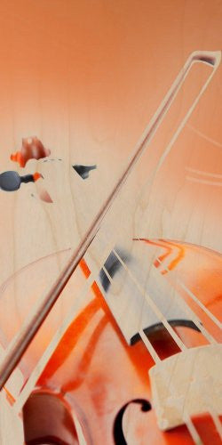 Violin w/ Bow Closeup Orchestra Music - Plywood Wood Print Poster Wall Art