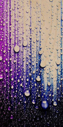 Water Droplets on Blue Surface Artwork - Plywood Wood Print Poster Wall Art