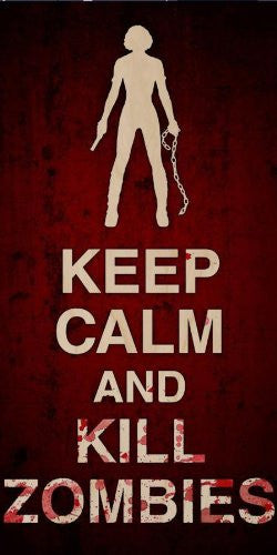 'Keep Calm and Kill Zombies' Girl Silhouette w/ Gun & Chain - Plywood Wood Print Poster Wall Art