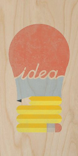 'Idea' Light Bulb Made of Pencil Red & Blue - Plywood Wood Print Poster Wall Art
