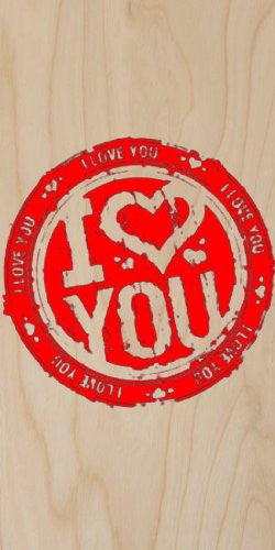 'I Heart You / I Love You' Red Ink Stamp - Plywood Wood Print Poster Wall Art