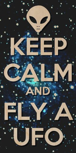 'Keep Calm and Fly A UFO' Alien Head & Space Stars Background - Plywood Wood Print Poster Wall Art