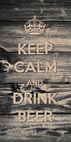 'Keep Calm and Drink Beer' Wood Grain Design - Plywood Wood Print Poster Wall Art