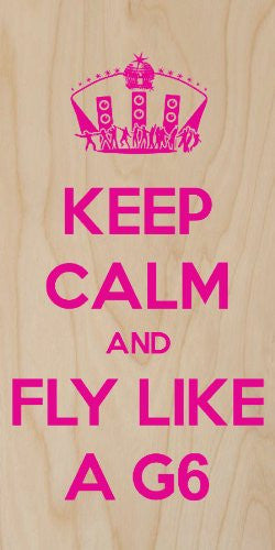 'Keep Calm and Fly Like a G6' Club Dance Party w/ Disco Ball - Plywood Wood Print Poster Wall Art