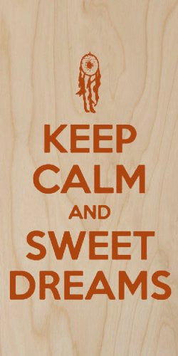 'Keep Calm and Sweet Dreams' Dreamcatcher - Plywood Wood Print Poster Wall Art