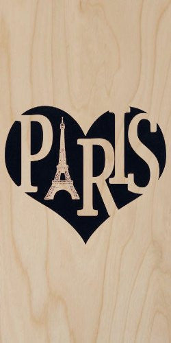 'Paris' France w/ Eiffel Tower Heart Text - Plywood Wood Print Poster Wall Art