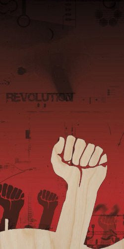 'Revolution' on Red w/ Fists in Air - Plywood Wood Print Poster Wall Art