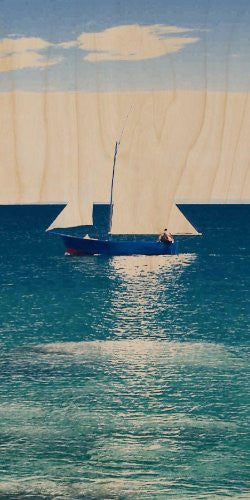 Sailboat on Clear Water Ocean w/ Clouds - Plywood Wood Print Poster Wall Art
