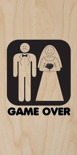 'Game Over' Funny Bride & Groom Marriage Wedding - Plywood Wood Print Poster Wall Art
