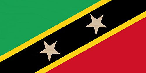 Saint Kitts & Nevis - World Country National Flags - Plywood Wood Print Poster Wall Art