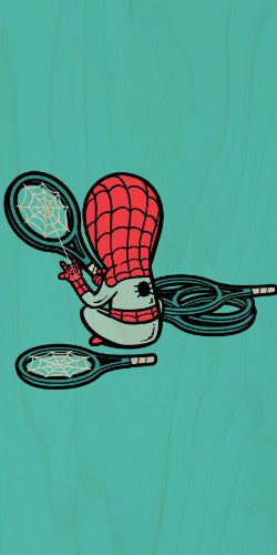 'Part-Time JOB Sport Shop' Funny Parody Super Hero Stringing Tennis Racquets - Plywood Wood Print Poster Wall Art