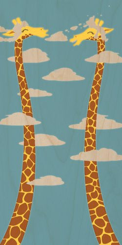 'Cloudy Day' Funny Cartoon w/ Giraffes Long Necks - Plywood Wood Print Poster Wall Art