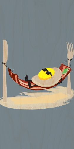 'Good Morning' Funny Egg Sunny Side Up Relaxing in Bacon Hammock - Plywood Wood Print Poster Wall Art