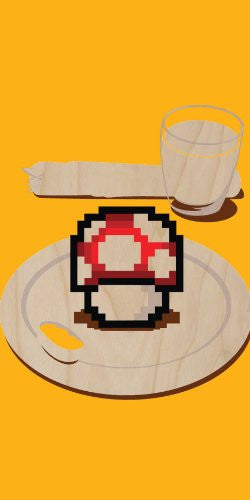 'Nutritious Breakfast' Funny Video Game Parody Mushroom on Plate - Plywood Wood Print Poster Wall Art