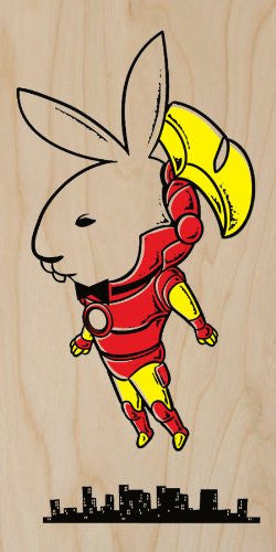 'Bunny Inside' Funny Super Hero Comic & Magazine Parody - Plywood Wood Print Poster Wall Art