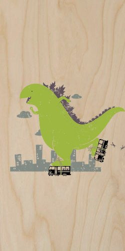 'Roller Skating' Funny Classic Movie Monster Skating on City Bus - Plywood Wood Print Poster Wall Art