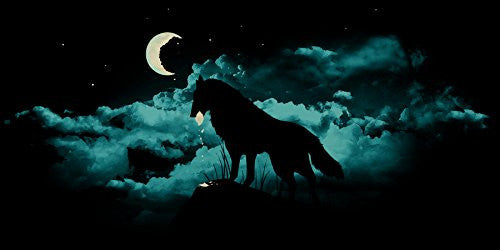 'Waning Crescent' Night Moon w/ Howling Wolf - Plywood Wood Print Poster Wall Art