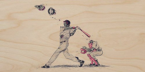 'Home Run' Funny Zombie Baseball Game - Plywood Wood Print Poster Wall Art