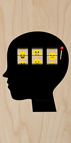 'Mood Of The Day' Funny Casino Slot Machine Brain - Plywood Wood Print Poster Wall Art