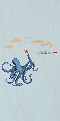 'Octotrap' Funny Octopus Tricking Lifeguard Humor - Plywood Wood Print Poster Wall Art
