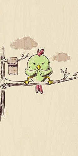 'Public Toilet' Funny Bird in Tree w/ Toilet Paper Roll - Plywood Wood Print Poster Wall Art