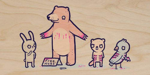 'Bear Hugs' Funny Bear Covered in Blood Offering Free Hugs Cartoon - Plywood Wood Print Poster Wall Art