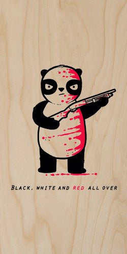 'Black, White, and Red All Over' Funny Panda Bear w/ Shotgun Riddle Cartoon - Plywood Wood Print Poster Wall Art