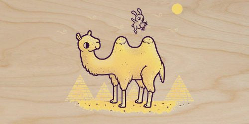 'Desert Air' Funny Bunny Rabbit Skateboard Jumping Over Camel Humps - Plywood Wood Print Poster Wall Art