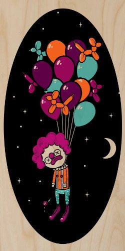 'Last Laugh' Suicide Clown Hung From Helium Balloons - Plywood Wood Print Poster Wall Art