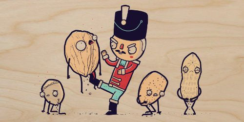 'Nut Cracker' Funny Doll Kicking Walnuts & Peanuts in Pain - Plywood Wood Print Poster Wall Art