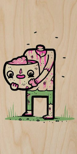 'Self Sufficient' Funny Zombie Eating His Own Brain - Plywood Wood Print Poster Wall Art