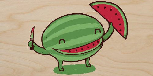 'Slice of Happiness' Watermelon w/ Smile Shape Slice Cut Out - Plywood Wood Print Poster Wall Art
