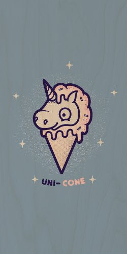 'Unicone' Funny Unicorn Ice Cream Cone Cartoon - Plywood Wood Print Poster Wall Art