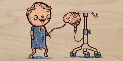 'Zombie Drip' Funny Hospital IV Feeding Brain to Zombie - Plywood Wood Print Poster Wall Art