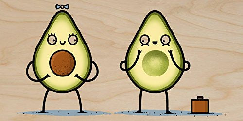'Avocado Baby' Fruit & Seed Couple Humor - Plywood Wood Print Poster Wall Art