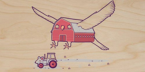 'Barn Owl Grey' Mouse Tractor Farm Humor - Plywood Wood Print Poster Wall Art