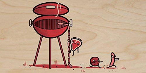 'BBQ Escaped' Meat Running Away - Plywood Wood Print Poster Wall Art