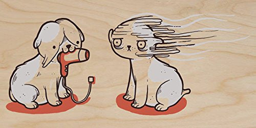 'Blow Dry' Cute Pet Humor - Plywood Wood Print Poster Wall Art