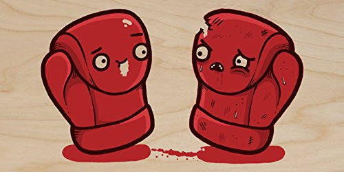 'Boxing Gloves' Box Match Humor - Plywood Wood Print Poster Wall Art