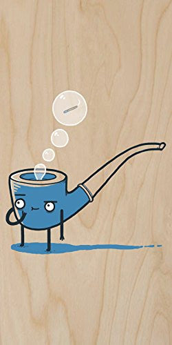 'Bubble Pipe' Smoking Humor - Plywood Wood Print Poster Wall Art
