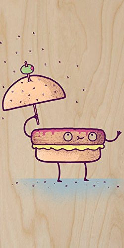 'Burgerbrella' Hamburger Rain Humor - Plywood Wood Print Poster Wall Art