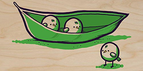 'Chick Peas' Cute Bird Vegetable Humor - Plywood Wood Print Poster Wall Art