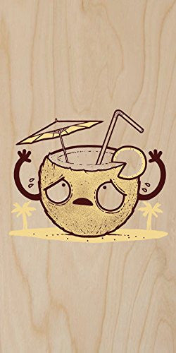 'Coconut Drink' Beverage Humor - Plywood Wood Print Poster Wall Art