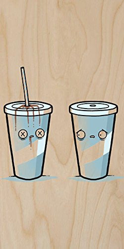'Drink Death' Straw Stabbing Cup - Plywood Wood Print Poster Wall Art
